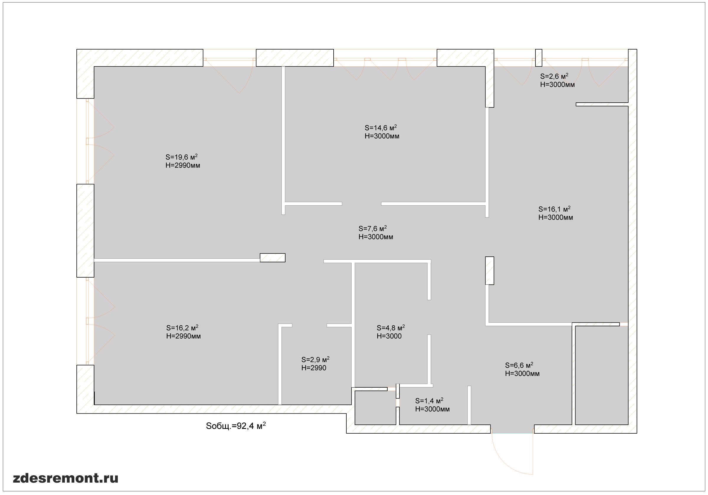 Обмер квартиры ArchiCad - площади и высоты