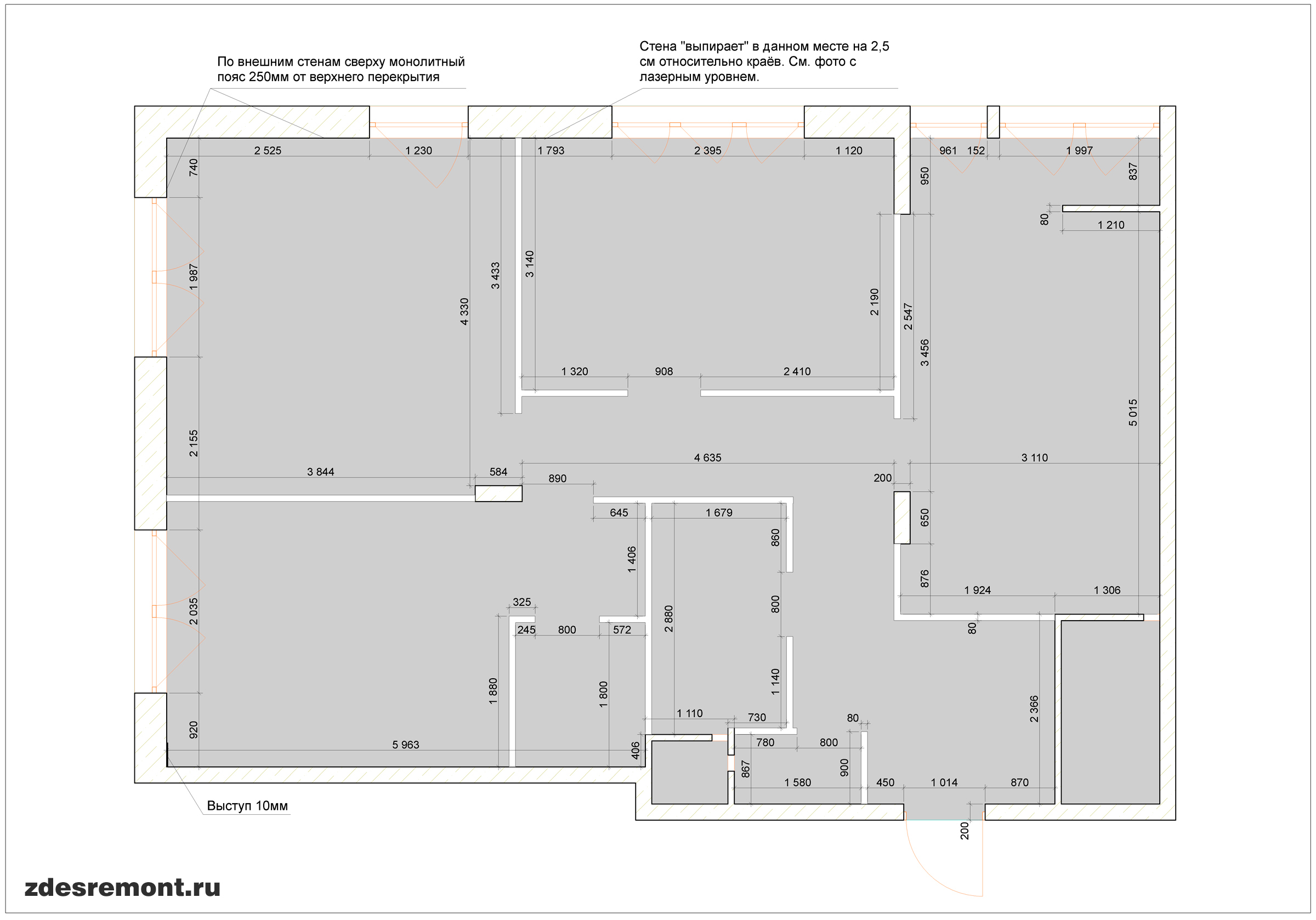 Обмер квартиры ArchiCad - размеры