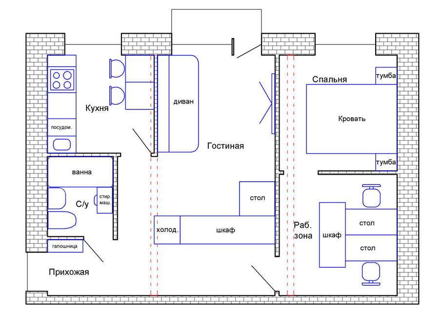 Планировка двухкомнатной хрущевки с расстановкой мебели